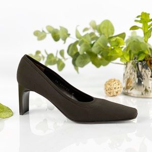 DKNY Brown Rectangle Heel Pump Classic Square Toe